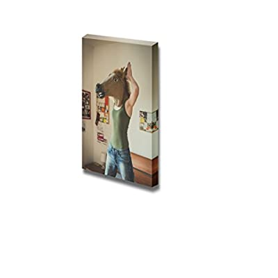 Canvas Prints Wall Art - Woman Wearing a Horse Mask | Modern Wall Decor/Home Decoration Stretched Gallery Canvas Wrap Giclee Print & Ready to Hang - 18