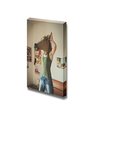 Canvas Prints Wall Art - Woman Wearing a Horse Mask | Modern Wall Decor/Home Decoration Stretched Gallery Canvas Wrap Giclee Print & Ready to Hang - 48