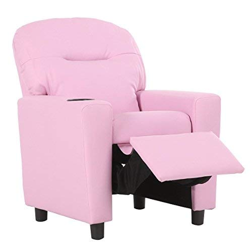 Cheap Costzon Contemporary Kids Recliner, PU Leather Lounge Furniture for Boys & Girls W/Cup Holder, Children Sofa Chair (Pink)