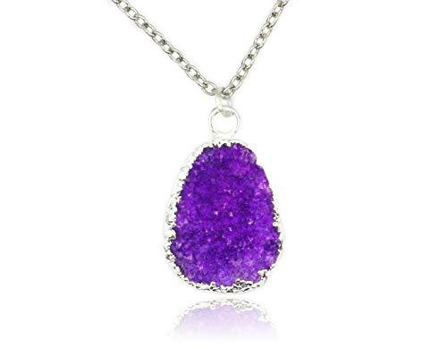 Taula Jewellery Druzy Quartz Pendant on White Rhodium Plated Brass Necklace (Purple ()