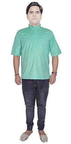 Kurta robe chemise en coton pour hommes manches courtes bouton haut polo