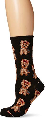 Socksmith Women's Yorkies Crew Socks, Black, Medium One Size