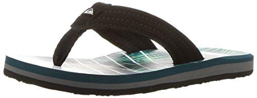 Quiksilver Slip Sandals - Quiksilver Boys' Carver Print Youth Sandal, Black/Green/Grey, 10(27) M US Little Kid