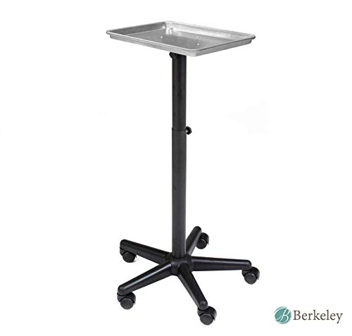 BAILEY Service Tray Silver Rolling Adjustable Multi-Use for Coloring, Tinting, Styling, Salon Service Tray Tattoo or Facial Service ()