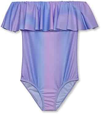 24a58d3932 Stella Cove Big Girls Pink Blue Pastel Ombre Ruffle One Piece Swimsuit 8-14