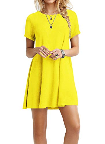 (TINYHI Women's Swing Loose Short Sleeve Tshirt Fit Comfy Casual Flowy Tunic Dress Yellow,X-Large)