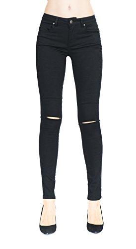 Super Skinny Denim (Women's Black Super Compy Stretch Denim Destroyed Skinny Jeans)