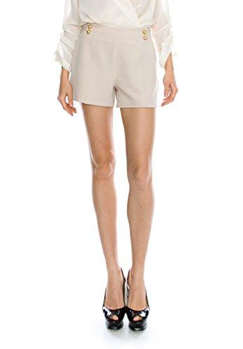 Jubilee Couture Womens Woven Silky Chiffon Classic Formal Dressy Dress Shorts Pants Trouser-Button (Chiffon Womens Shorts)