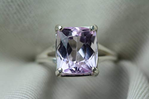 Kunzite Ring, Certified 6.16 Carat Pink Kunzite Solitaire, Sterling Silver, Real Genuine Natural Jewelry, Cushion Cut, Appraised 750.00 ()