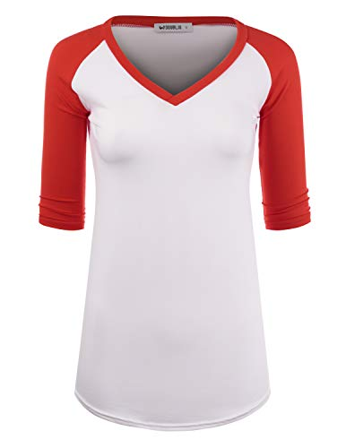 Doublju Women's Top Raglan Solid & Floral Printed 3/4 Sleeve T-Shirt, WHITERED 2X Plus Size