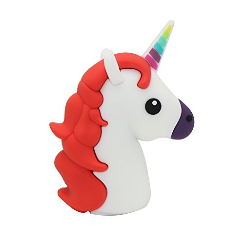 DBigness 3350mAh Cute Mini Size Red Unicorn Portable Chargers Funny Lightweight Gift Mobile Phone Charger Cartoon PVC External Battery Backup Pack Power Bank for Smart Phone