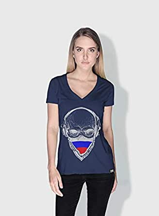 Creo Russia Skull T-Shirts For Women - Xl, Blue