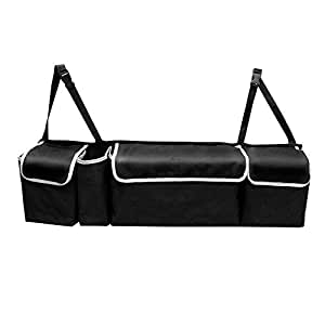 Universal 2 in 1 Car Trunk Back Seat Organizer Large Capacity Storage Bag Extra Long Polyester Adjustable Black Organizers