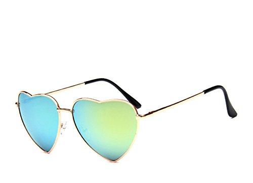 Chezi Women's Metal Colorful Iridium Coated Lens Heart Sunglasses (gold, - Sunglasses Aviator Turquoise