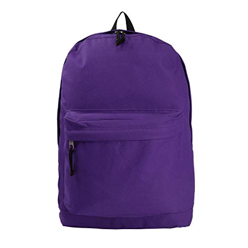Wholesale Classic Backpack 18 inch Basic Bookbag Bulk Cheap Case Lot of 36pcs Simple Schoolbag Promotional Backpacks Low Price Non Profit Giveaway Student School Book Bags Vintage Daypack Purple