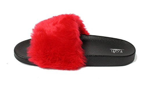 Kali Footwear Womens Flip Flop Faux Fur Soft Slide Flat Slipper Limit Red zom08PNF42