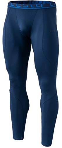 (TSLA Men's Thermal Wintergear Compression Baselayer Pants Leggings Tights, Thermal Athletic(yup43) - Navy, X-Large)