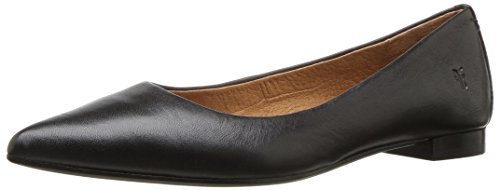 (FRYE Women's Sienna Ballet Flat, Black Polished Soft Full Grain, 8.5 M)