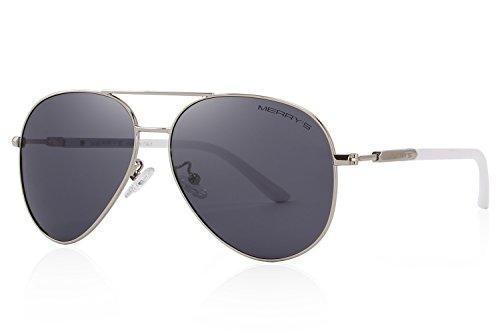 MERRY'S Men's Polarized Driving Sunglasses For Men Women Mirror Sun glasses UV400 S8058 (Silver&Black, - Name Brand Sunglasses Best