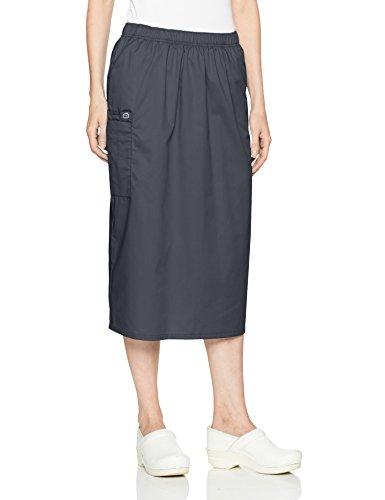 WonderWink Women's Wonderwork Pull-on Cargo Scrub Skirt, Pewter, - Twill Cotton Skirt Cargo