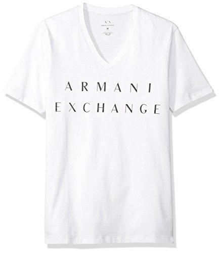 A|X Armani Exchange Men's Basic Logo V Neck Tee, White, Medium ()