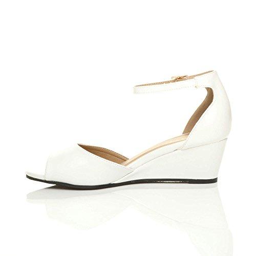 Ajvani pour mat Blanc Sandales Femme APAxCwn6qr