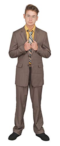 Adult Halloween Costume Set Office Schrute Complete Suit (Medium) Brown