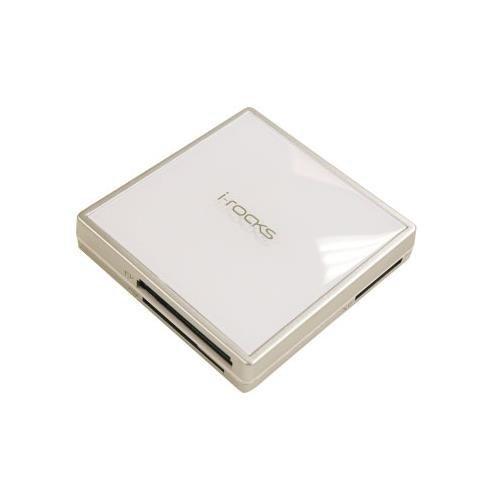 I-ROCKS IR-8100M crystal all-in-1 hub & card reader w/ 3 USB 2.0 ports (white)