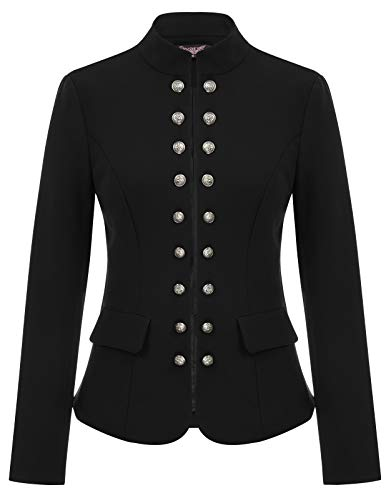 Womens Black Gothic Steampunk Casual Jacket Blazer Military Coat SL35-1 M Black ()