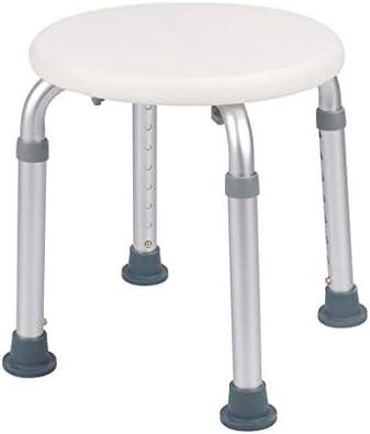 Dusch Badestühle Badstuhl Duschsitz Duschhocker Höhenverstellbarer Badstuhl Runder Rutschfester Duschstuhl Hilfsmittel für Bad (Color : Weiß, Size : 32 * 32 * 35-52cm)