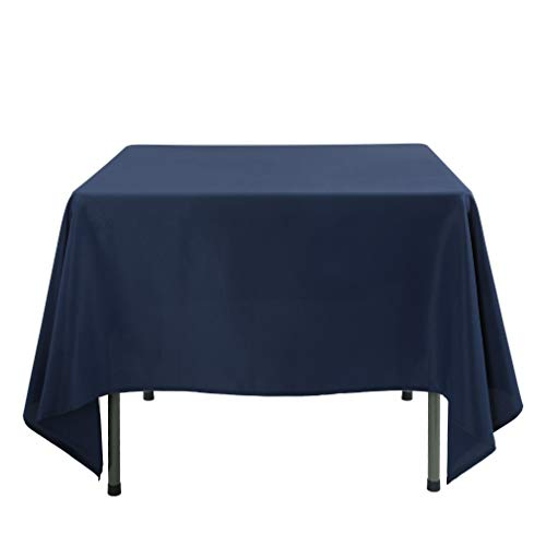 Waysle 70 x 70-Inch Square Tablecloth, 100% Polyester Washable Table Cloth for Square or Round Table, Navy Blue