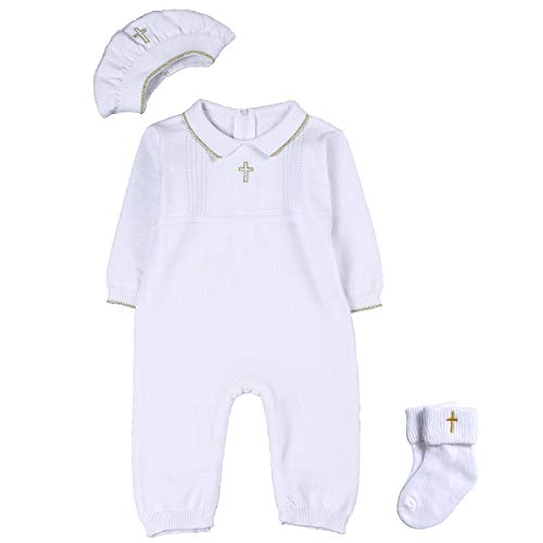 HAPIU Baby Boy Outfit with Hat -Detail, 12-15M, Pure White
