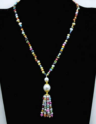 Sale 4-5mm Multicolor Baroque Natural Pearl 20 Necklace Tassel pendant-n6440 ()