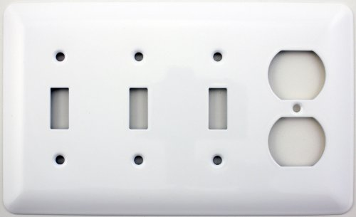 Mulberry Princess Style White Four Gang Combination Switch Plate - Three Toggle Light Switch Opening One Duplex Outlet Opening