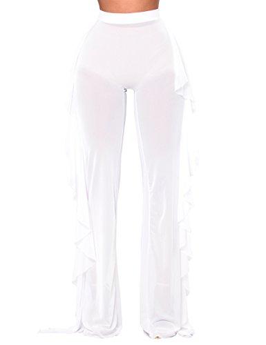 HAHASOLE Women Sheer Pants Cover Up Ruffle Swimwear See Through Mesh Swim Sexy Long Pant Bikini Beach (White, M(2-4)) (Pants Swimwear Beach)