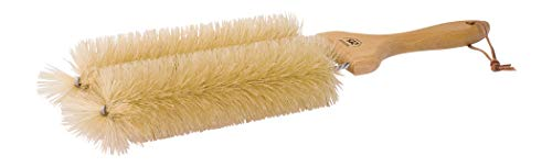 REDECKER Natural Pig Bristle Double Radiator Brush with Oiled Beechwood Handle, 16-1/2-Inches