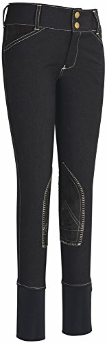 Equine Couture Children's Sportif Natasha Knee Patch Breeches with CS2 bottom Color - Black/LightTan Size - 6