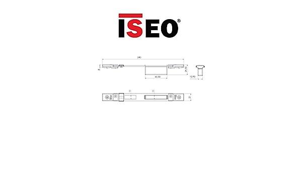 contropiastra Iseo Art. 038631 Chiusa ajustable para cerradura central Performa eléctrica y mecánica ajustable de vertical con Piastrine roscados y de ...
