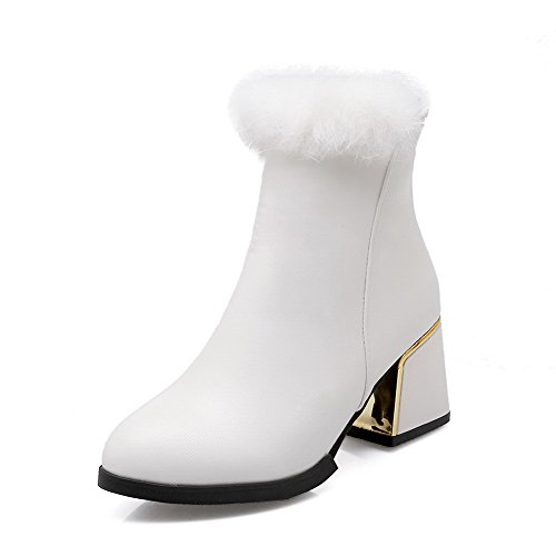 Closed Women's Allhqfashion Solid Heels Toe Zipper Round Kitten White Boots dAdYTwxqF