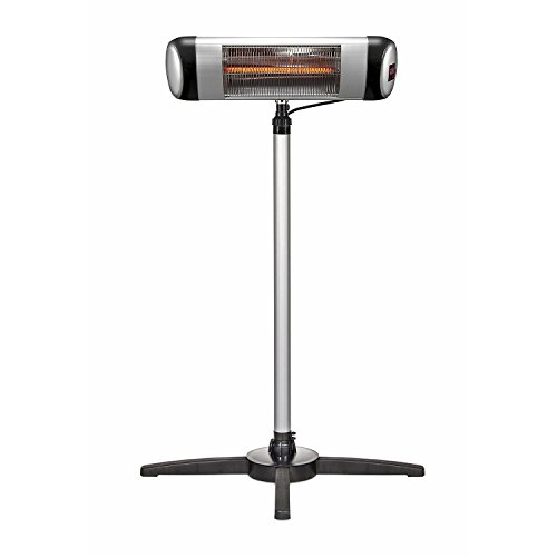 1500W Outdoor Free Standing Patio Heater with Remote Control/Carbon Infrared Heaters with Offset -