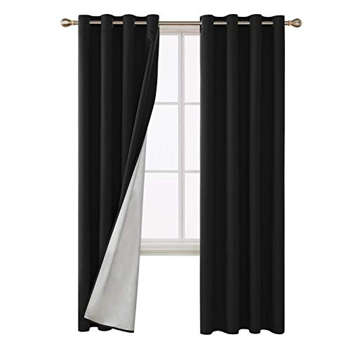 rtains with Silver Coated Silver Back Grommet Top Thermal Insulated Window Drapes for Living Room 52W x 95L Inch Black 2 Panels ()
