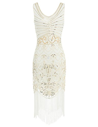 1920s Sequin Flapper Dress Great Gatsby Inspired Embellished Cocktail Dress (White, M) -