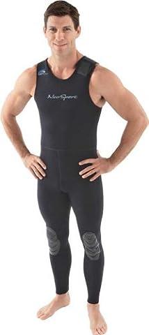 NeoSport Wetsuits Men's Premium Neoprene 3mm John, Black, Medium - Diving, Snorkeling & Wakeboarding