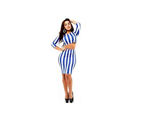 GGTBOUTIQUE Damen Schlauch Kleid Mehrfarbig blau / weiß