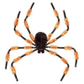5 FT HALLOWEEN LED 3 FUNCTION HANGING SPIDER - ORANGE AND BLACK