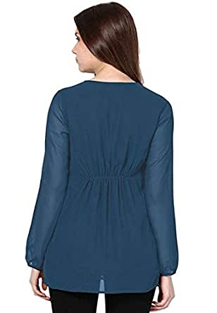 nukhbaa Air Force Blue Shirt Neck Fashion Vest For Women