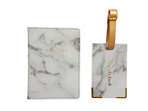 Chic Luggage Tags - Marble Print Passport Holder Travel Cover Case & Luggage Tag Set in Gift Box with Rose Gold Lettering (Be Right Back)