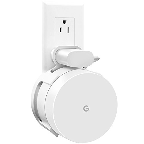 AMORTEK [Upgraded] Google Wifi Wall Mount, Wifi Accessories for Google Mesh Wifi System and Google Wifi Router Without Messy Wires or Screws (White(1 Pack))