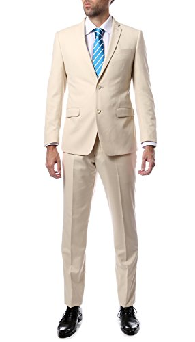 52R Mens 2pc 2 Button Slim Fit Tan Zonettie Suit