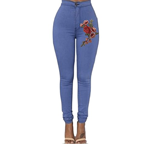 FuweiEncore Jeans Skinny Jeans Pantalons Fleur Broderie Pantalons d't Zipper Taille Haute Jeans Hipster Jeans Skinny Jeans Bleu